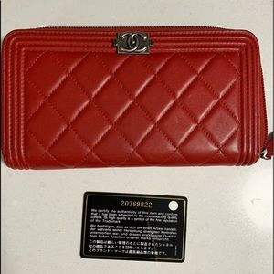 CHANEL Le Boy Quilted Lambskin Zipped Long Wallet